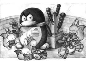 企鹅与凌锥体儿童创意素描画法