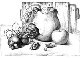 水果与石膏罐子儿童创意素描画法