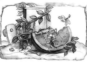 西瓜与石膏棱柱体儿童创意素描画法