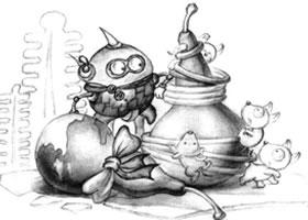 一对小葫芦儿童创意素描画法