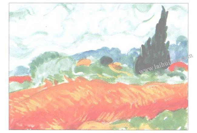 临摹梵高《有系杉的麦田》水粉画作品创作步骤02