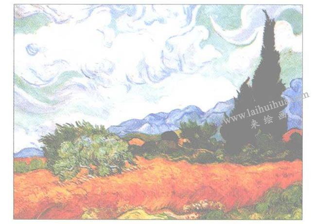 临摹梵高《有系杉的麦田》水粉画作品创作步骤03