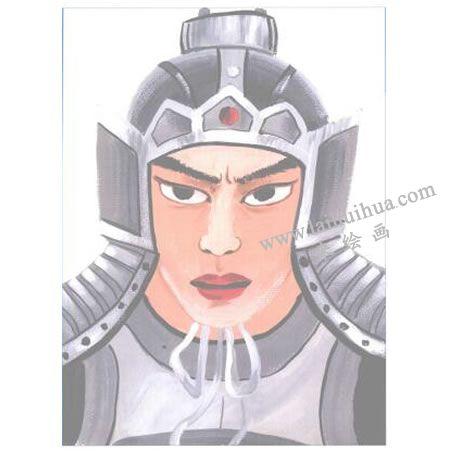 戴头盔的将军水粉画法创作步骤05