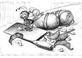 菜刀与土豆儿童创意素描画法
