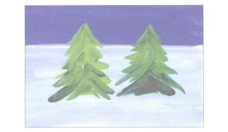 圣诞树水粉画法创作步骤02