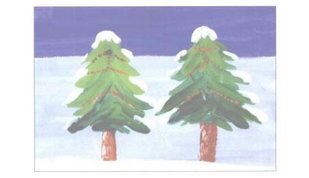 圣诞树水粉画法创作步骤04