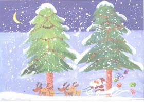 圣诞树水粉画法创作步骤