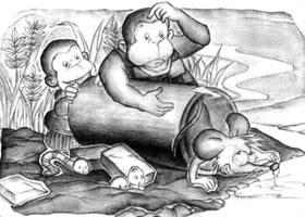 放倒的圆柱体儿童创意素描画法
