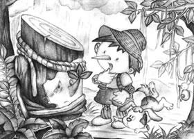 斜面圆柱体儿童创意素描画法