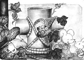 两个圆柱体儿童创意素描画法