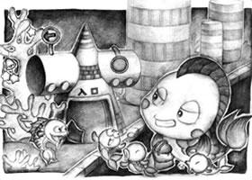 圆锥与圆柱组合体儿童创意素描画法