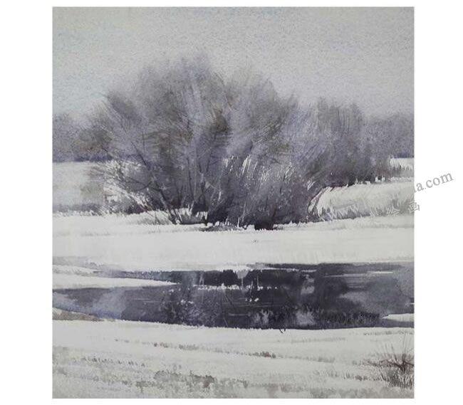 水彩画皴擦用笔技法范画
