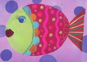 美丽的小鱼儿童水粉画法