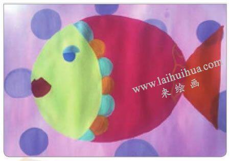 美丽的小鱼儿童水粉画法步骤04