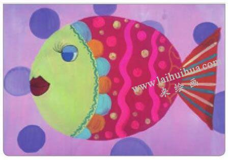 美丽的小鱼儿童水粉画法步骤05