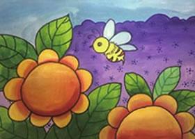 小蜜蜂采花粉水粉画法