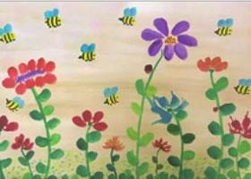 花儿朵朵开儿童水粉画法