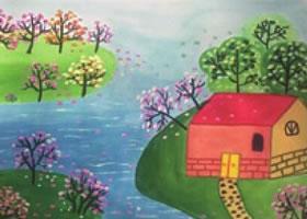 春暖花开儿童水粉画法