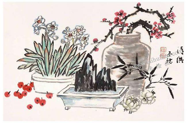 水仙写意画