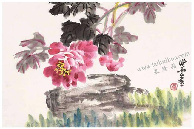牡丹花写意画法构图样式