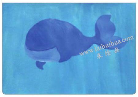 鲸宝宝游玩水粉画法步骤02