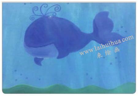 鲸宝宝游玩水粉画法步骤03