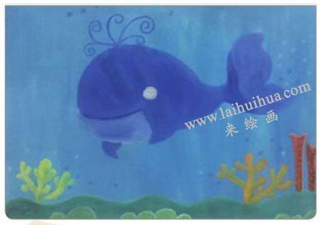 鲸宝宝游玩水粉画法步骤04