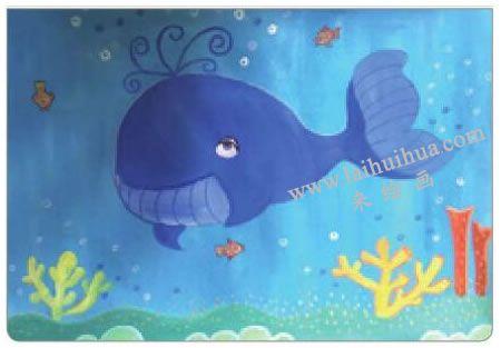 鲸宝宝游玩水粉画法步骤05