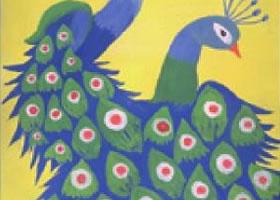 孔雀开屏水粉画法