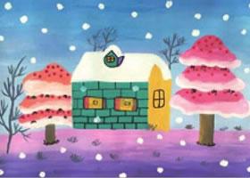 冬日雪景水粉画法