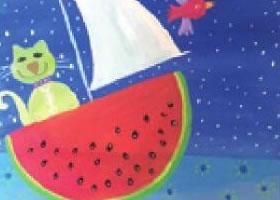 猫咪的西瓜船水粉画法