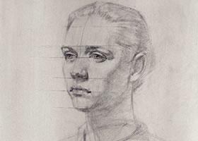 人物头像素描确定形体结构的方法