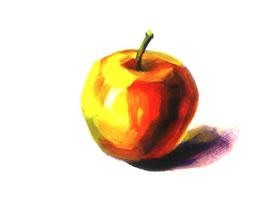 单个苹果水粉画法步骤