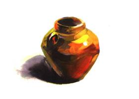 单个罐子水粉画法