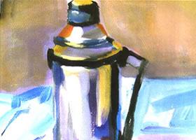 暖水瓶和苹果组合水粉画法