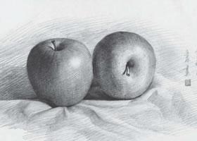 苹果组合素描作画步骤