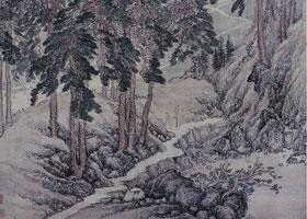 张宏《村径柴门图》轴