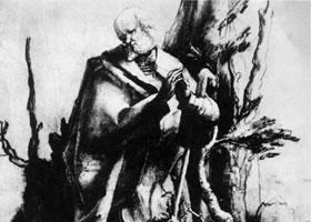 格伦奈华特《森林中的圣者》素描作品