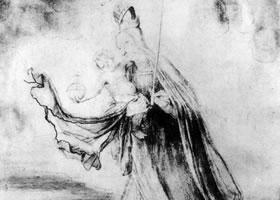 格伦奈华特《云上的玛利亚》素描作品