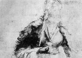 格伦奈华特《持花的圣女》素描作品