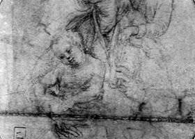 格伦奈华特《有约翰的圣母子》素描作品