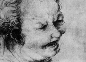 格伦奈华特《哭泣的男孩》素描作品