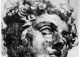 丁托雷托临摹米开朗基罗《美第奇》头部的习作