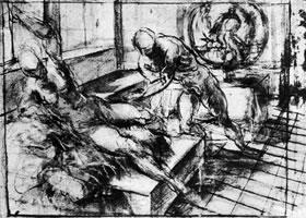 丁托雷托《乌尔卡努斯和维纳斯》素描作品