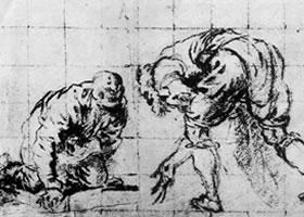 丁托雷托《玩骰子的士兵们》素描作品