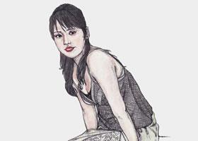 坐姿女青年的速写绘画步骤