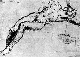 丁托雷托《躺着的裸体男子》素描作品
