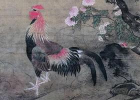 吕纪《榴葵绶鸡图》轴