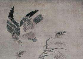 吕纪《残荷鹰鹭图》轴
