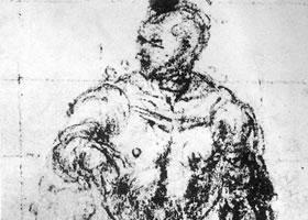 丁托雷托《穿铠甲的男子的习作》素描作品